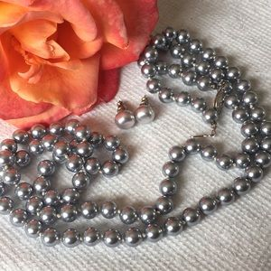 Jewelry - Opera Length Grey Faux Pearls with Earrings
